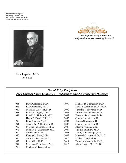 jack lapides essay contest