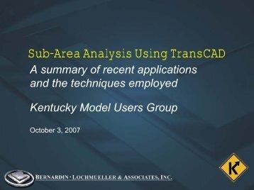 Sub Area Analysis Using TransCad   Kentucky Transportation Cabinet
