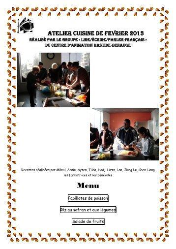 atelier cuisine de fevrier 2013 - Association des centres d'animation ...