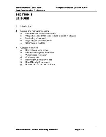 Local Plan Part 1 Section 3: Leisure [PDF, 78k] - South Norfolk Council
