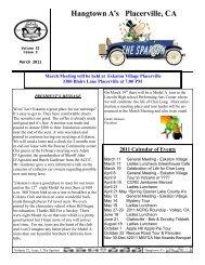 2011 Calendar of Events - Hangtown A's
