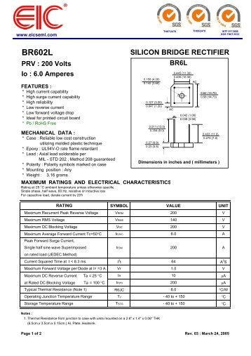 BR602L : SILICON BRIDGE RECTIFIER - PRV : 200 Volts Io - EIC