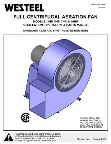 198942 High Speed Centrifugal Fan INSTALLATION ... - Westeel