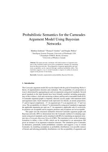 Probabilistic Semantics for the Carneades ... - Douglas Walton's