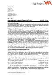Wartung von Beförderungsanlagen - Departement Bau - Winterthur