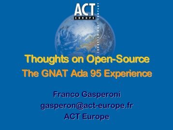 Thoughts on Open Source: The GNAT Ada 95 Experience