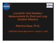 Low-Earth Orbit Radiation Measurements for Short and ... - USRA