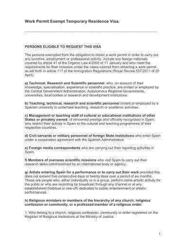 Work permit exempt temporary residence visa - VFS Global