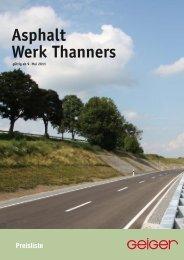 Preisliste Asphalt Werk Thanners - Geiger
