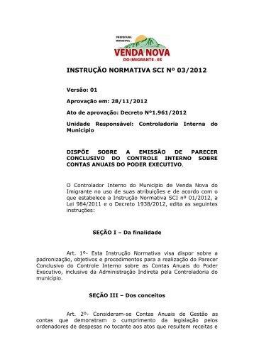 INSTRUÇÃO NORMATIVA SCI Nº 03/2012