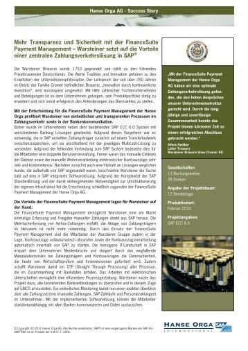 Warsteiner SuccesStory_10.indd - Hanse Orga AG