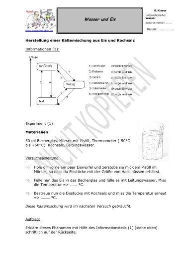 Wasser und Eis - Herstellung einer ... - Chemiezauber.de