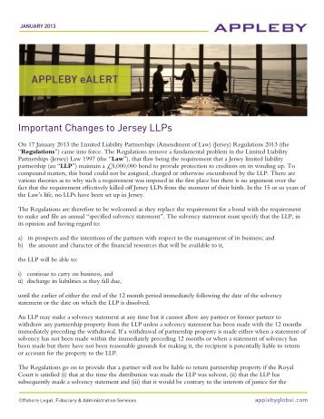 Important Changes to Jersey LLPs January 2013 - Appleby