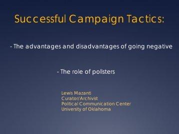 Successful Campaign Tactics: - Women in Government