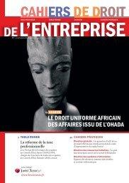 le droit uniforme africain des affaires issu de l'ohada - LexisNexis