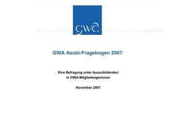 GWA Azubi-Fragebogen 2007 - Kommunikarriere.de