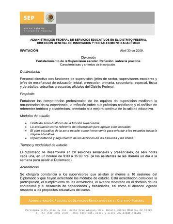 Diplomado Fortalecimiento de la Supervisión Escolar - Sepdf.gob.mx