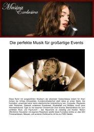 Die perfekte Musik für großartige Events - Musica Exclusiva