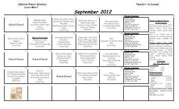 September 2012 Lunch Menu - Jericho School District