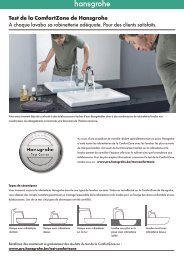 Résultats de test avec les lavabos Laufen - Hansgrohe