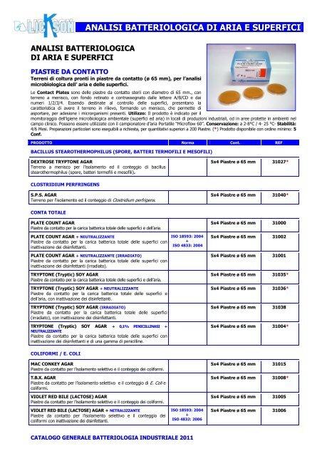 ANALISI BATTERIOLOGICA DI ARIA E SUPERFICI - Lickson