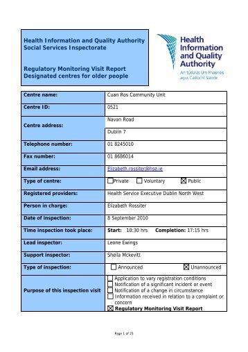 Cuan Ros community Unit, 521, nursing home inspection - hiqa.ie