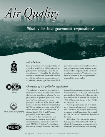 Air Quality - What is the local government responsibility?