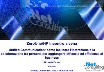 Presentazione Riccardo Zanchi - NetConsulting - ZeroUno