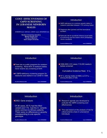 COST- EFFECTIVENESS OF G6PD SCREENING IN ... - Administration