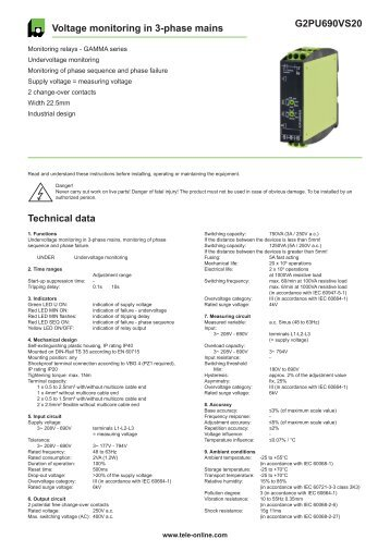 G2PU690VS20 Voltage monitoring in 3-phase mains ... - Tele Haase