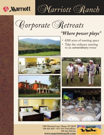 Marriott Ranch Corporate Retreats - Fauquier County, Virginia