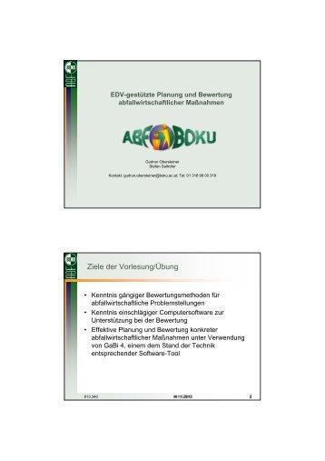 Ziele der Vorlesung/Übung - Department Wasser-Atmosphäre ...