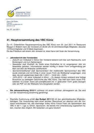 Bericht HV 2011 - VBC-Köniz