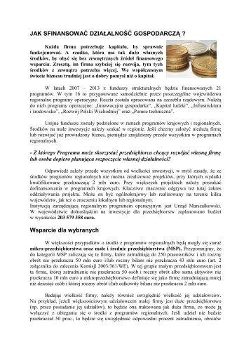 Jak sfinansować działalność gospodarczą (pdf 500 kB)