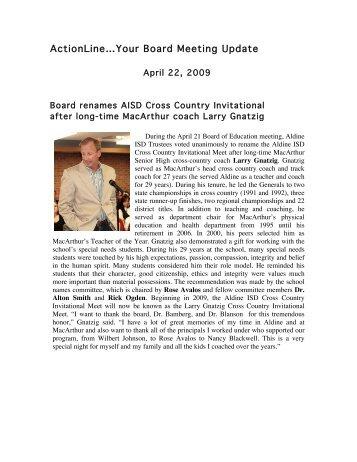 April 22, 2009 - Aldine Independent School District