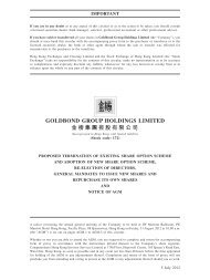 Circulars - Proposed termination of Existing Share ... - goldbond group