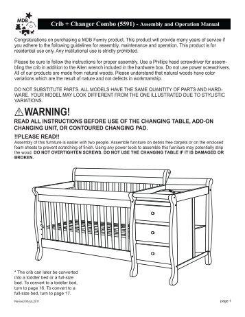 Kalani Crib + Changer Combo (M5591) – Assembly And ... - Cribs.com