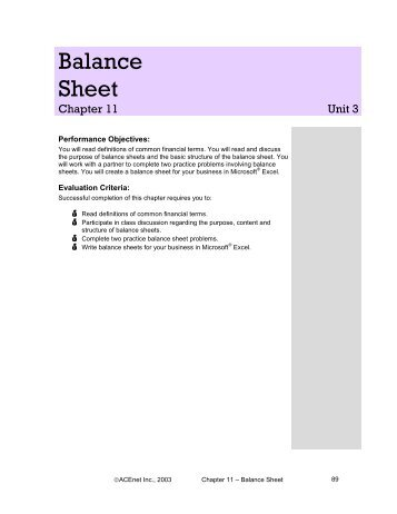 Writing Your Balance Sheet - ACEnet