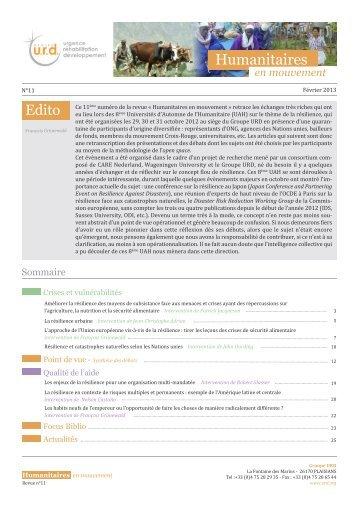 Humanitaires en mouvement n°11 - Groupe URD