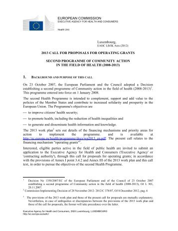 Call for proposals for operating grants - European Commission ...