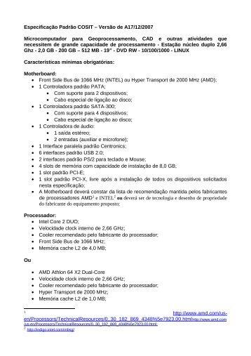 Especificação Padrão COSIT – Versão de 17/12/2007 - Gerds