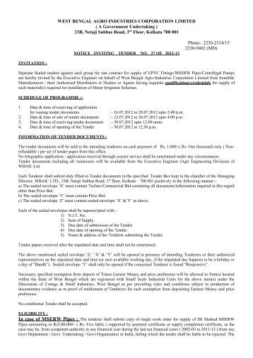 Tender_Notice_NIT27 - West Bengal Agro Industries Corporation ...