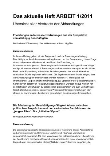 Das aktuelle Heft ARBEIT 1/2011 - Zeitschrift Arbeit