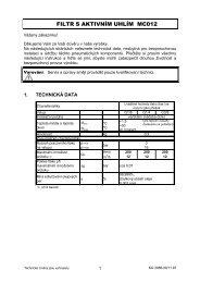 Řada Swing – Uhlíkový filtr MC012 - FLUIDTECHNIK BOHEMIA, sro