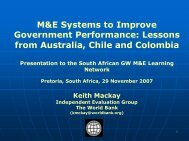 International case studies of government M&E ... - The Presidency