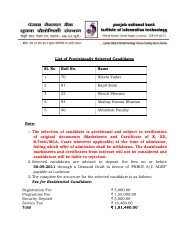 List of Provisionally Selected Candidates Note: 1. The selection of ...