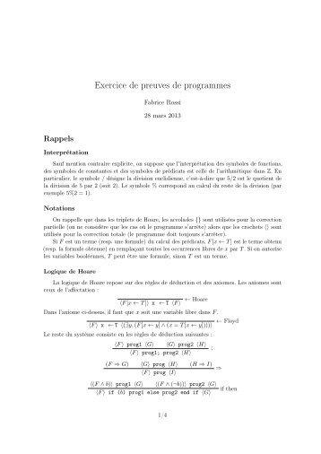 Exercice de preuves de programmes - Fabrice Rossi