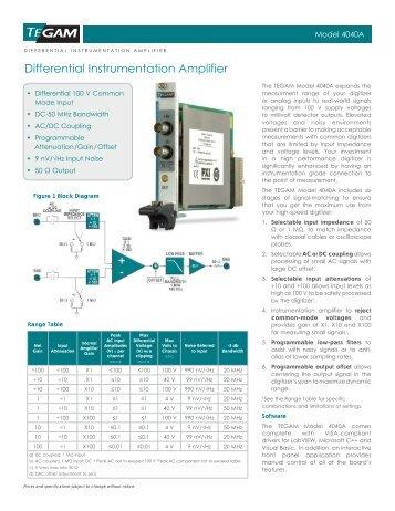 Differential Instrumentation Amplifier - Egmont Instruments