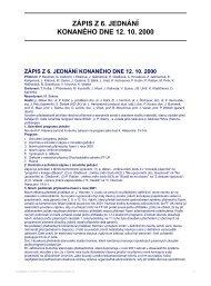 ZÁPIS Z 6. JEDNÁNÍ KONANÉHO DNE 12. 10. 2000