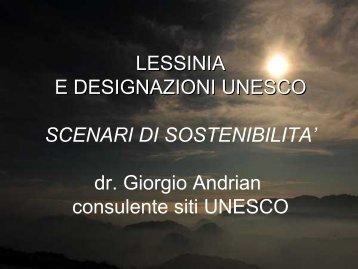 dr. Giorgio Andrian consulente siti UNESCO - Lettere e Filosofia